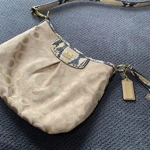 Coach tan and snake skin crossbody bag